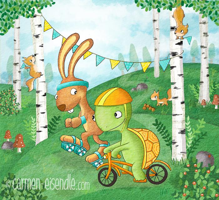 tortoise, hare, hase, Schildkröte, Inline Skates, Fahrrad, Wettlauf, Race, Bunny